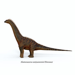 Alamosaurus Dinosaur Side Profile with Font - Alamosaurus was a titanosaur sauropod herbivorous dinosaur that lived in North America during the Cretaceous Period.