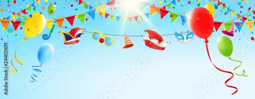Fasching Himmel Mit Luftballons Girlanden Und Fasching
