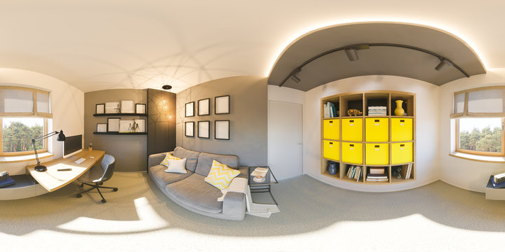 Seamless 360 vr home office panorama. 3d illustration of modern apartment interior design