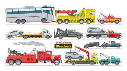 Tow truck vector towing car trucking vehicle bus transportation towage help on road illustration set of towed auto transport isolated on white background