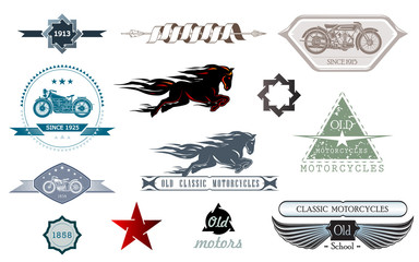 Car repair, garage, auto service emblems. Vintage design elements for logo, label, sign. Vector logo for motorcycle and car restoration, repair and racing.