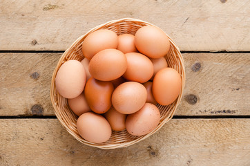 Chicken eggs in the basket.