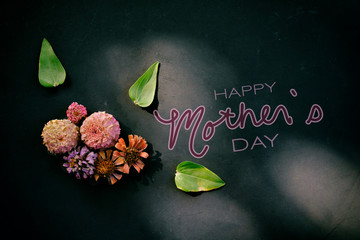 Happy Mother's Day banner graphic with Zinnia flowers on black background.