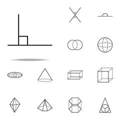 90 degree angle icon. Geometric figures icons universal set for web and mobile