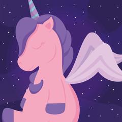 Fotobehang Draw cute unicorn icon