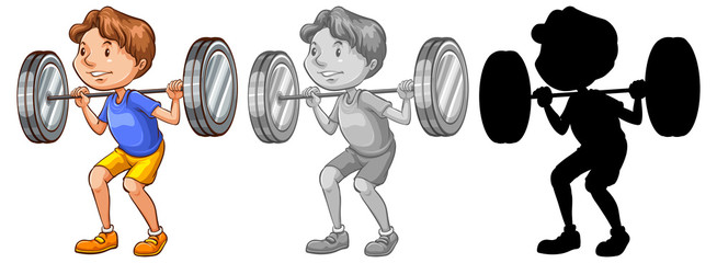 Man lifting weight character