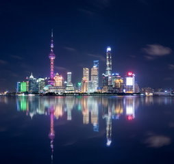 Wall Mural - beautiful shanghai skyline and reflections