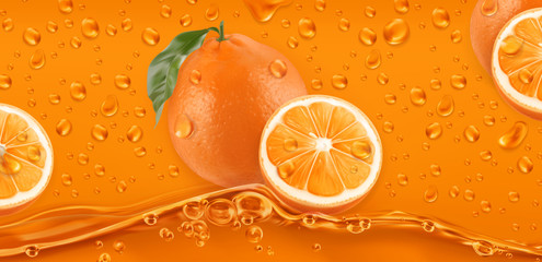Orange Drops. Fresh fruit background. 3d realistic vector