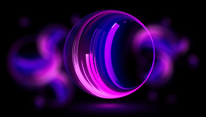 Glow neon balls. Colorful space tunnel. Glint sphere. Vivid rings. Circle frame of title place. Bright background for text. Glare abstract composition. Beautiful design of magic bubbles. 3D rendering