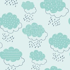 seamless pattern with clouds and raindrops. vector illustration,