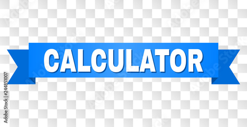 CALCULATOR text on a ribbon  Designed with white title and