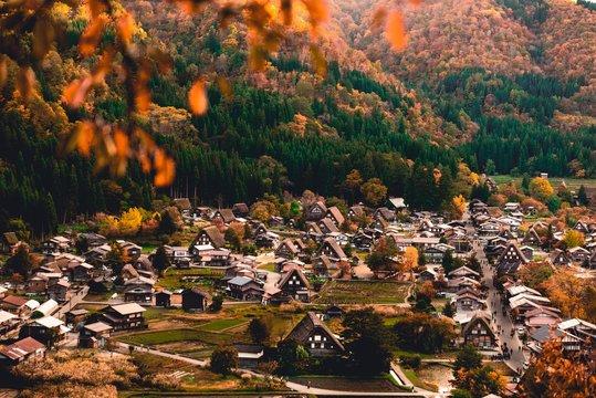 top view of Shirakawa-go village during Autumn Season on Octobor in Japan.