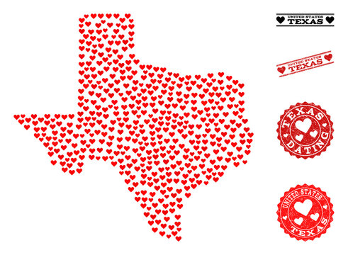Collage map of Texas State composed with red love hearts, and rubber watermarks for dating. Vector lovely geographic abstraction of map of Texas State with red dating symbols.
