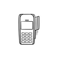 POS terminal for bank card hand drawn outline doodle icon. Credit card machine, paying, online shopping concept. Vector sketch illustration for print, web, mobile and infographics on white background.