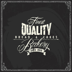 Vector bakery logo design elements template on vintage blackboard texture