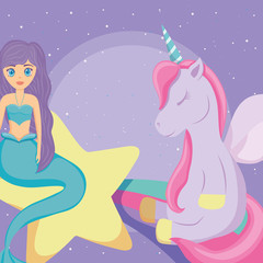 cute unicorn and mermaid design