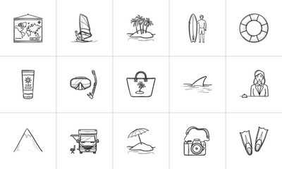 Summer vacation hand drawn outline doodle icon set. Outline doodle icon set for print, web, mobile and infographics. Tourism and beach vector sketch illustration set isolated on white background.