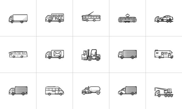 Transport hand drawn outline doodle icon. Outline doodle icon set for print, web, mobile and infographics. Delivery truck, public transport vector sketch illustration set isolated on white background.