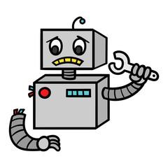 Cartoon Broken Robot Fixing Itself