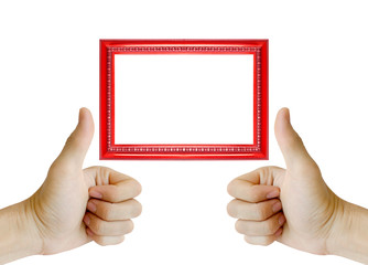 Hand gesturing the ok sign and red frame isolated on white background