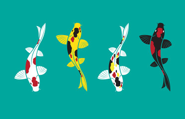 Vector of carp koi fish design isolated on blue background. Pet Animal. Easy editable layered vector illustration.