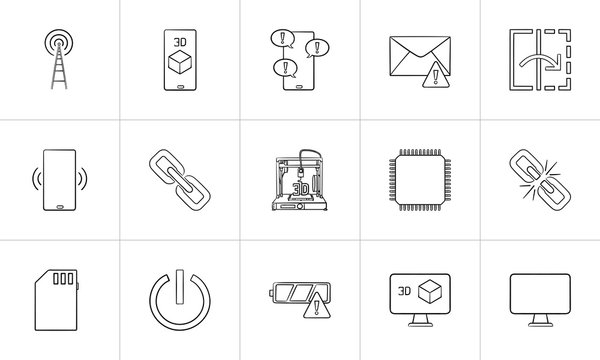 Technology hand drawn outline doodle icon set. Outline doodle icon set for print, web, mobile and infographics. Mobile phone message and 3d vector sketch illustration set isolated on white background.