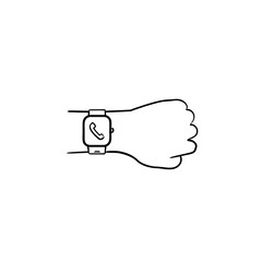 Hand wearing smart watch with incoming call hand drawn outline doodle icon. Smart device, modern gadget concept. Vector sketch illustration for print, web, mobile and infographics on white background.