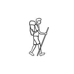 Hiker with backpack walking hand drawn outline doodle icon. Mountain climbing, tourist hiking concept. Vector sketch illustration for print, web, mobile and infographics on white background.