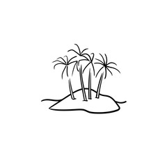 Island with palm trees hand drawn outline doodle icon. Summer vacation, travel and tropical beach concept. Vector sketch illustration for print, web, mobile and infographics on white background.