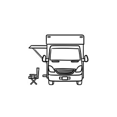 Motorhome with tent hand drawn outline doodle icon. Caravan and vacation, recreation and rv, camper concept. Vector sketch illustration for print, web, mobile and infographics on white background.
