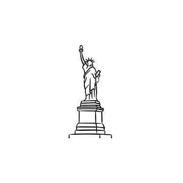 The Statue of Liberty hand drawn outline doodle icon. Landmark, tourism and freedom, independence concept. Vector sketch illustration for print, web, mobile and infographics on white background.
