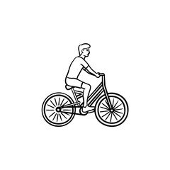 Man riding a bike hand drawn outline doodle icon. Cycle and fitness, recreation and travel activity concept. Vector sketch illustration for print, web, mobile and infographics on white background.