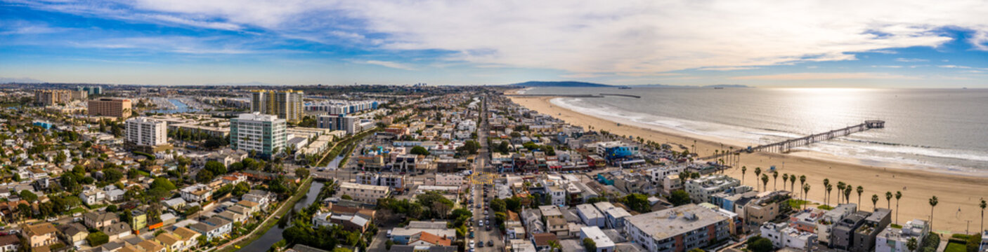 Los Angeles Venice Beach City Sky Panorama Aerial