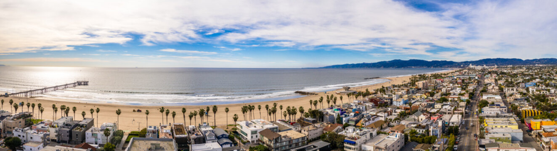 Venice Beach Los Angeles California Aerial Beach City Santa Monica in the back