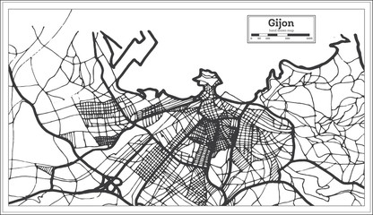 Gijon Spain City Map in Retro Style. Outline Map.