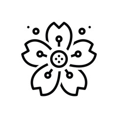 Black line icon for cherryblossom