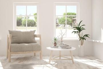 Idea of white stylish minimalist room with armchair and summer landscape in window. Scandinavian interior design. 3D illustration
