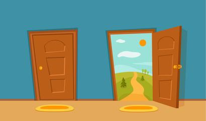 Open door cartoon colorful vector illustration. House apartment entrance