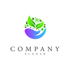 nature care logo, hand + leaf icon