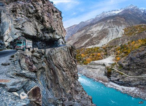 World's most dangerous road in the Karakorum mountains