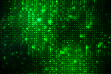Binary Code Background, Digital Abstract technology background, flowing number one and zero text in binary code format in technology background.