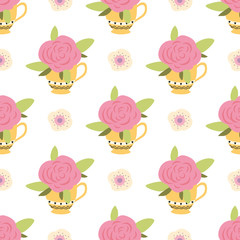 Seamless pattern with cute pink rose in yellow cup Floral spring design Handdrawn style Vector illustration
