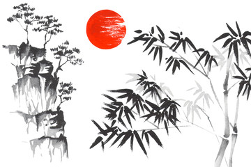 Japan Traditional japanese painting Sumi-e art Sun Sakura