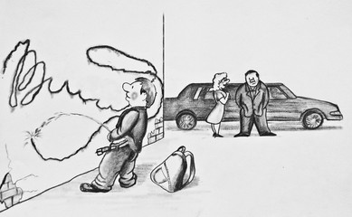The concept of bad parenting.  Bad boy pees on the wall. Pencil drawing on paper