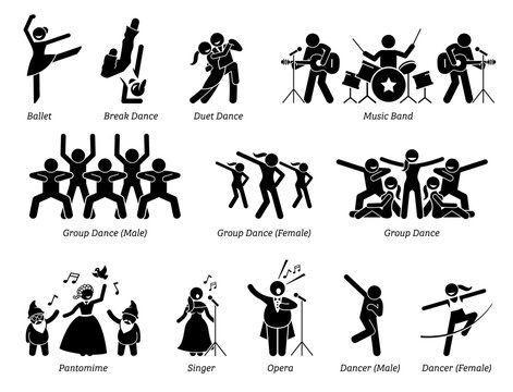 Stage performer artists for musical, dance, and theater show. Pictogram depicts ballet, dancers, music band, pantomime, and singers.