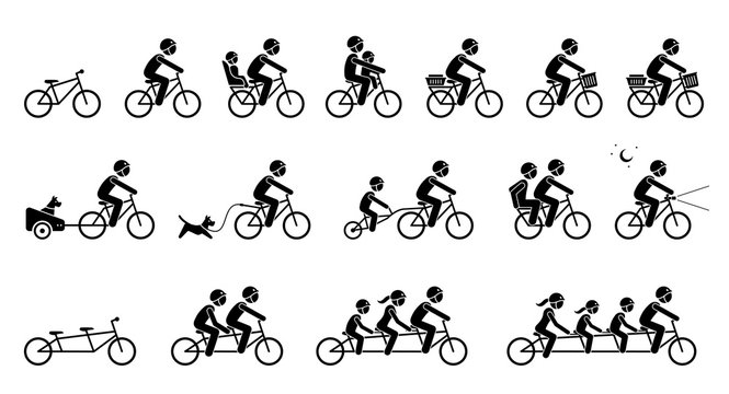 Bicycle accessories and equipments. Pictograms depicts type of bicycle attachments, seats, gears, and parts for adult, child, pet dog, and family. Tandem bicycle for two, three, and four seater.