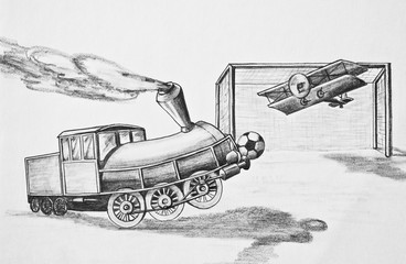 Locomotive and plane playing football. Pencil drawing on paper