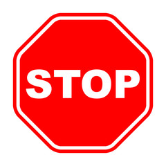 Stop Sign red isolated on white background. Traffic regulatory warning stop symbol. Vector illustration, EPS10.