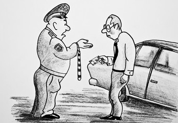 The policeman demands money from the driver. Illustration of corruption. Pencil drawing on paper