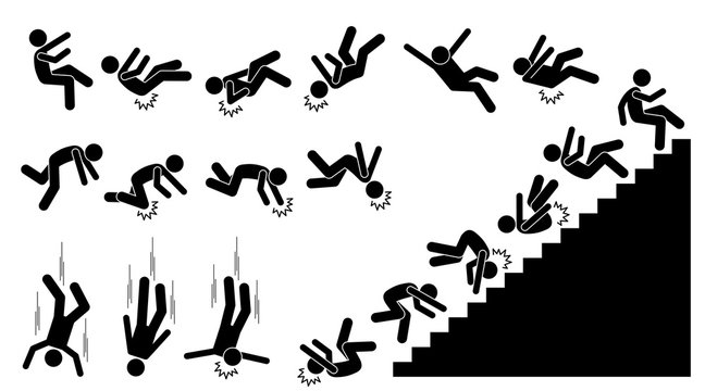 Man falling and felling down. Pictogram shows a person fall down and knock on different parts of the body. The injuries are on back, elbow, head, knee, and neck. He also fell down from the staircases.